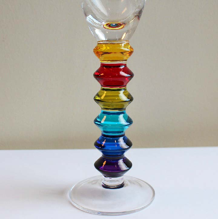 Set of 6 Rainbow Design Champagne Flutes