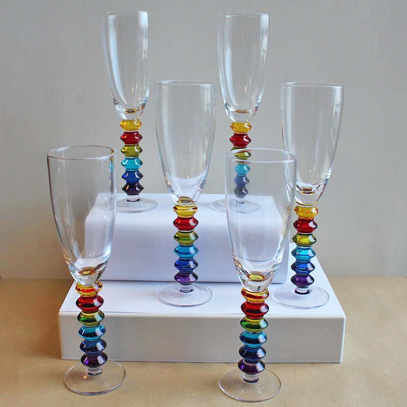 Rainbow Colored Glass Champagne Flutes Set of 6