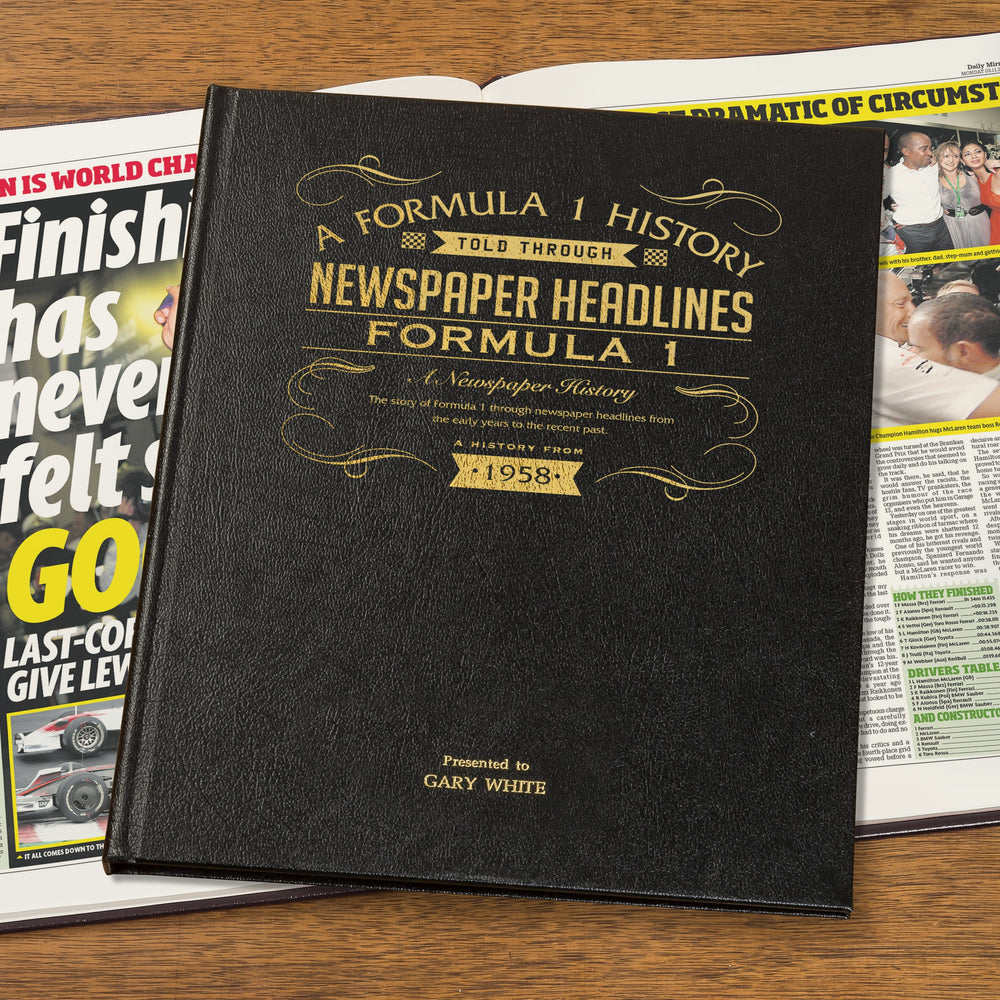 Personalised Formula One Newspaper Book - Black Leather Cover