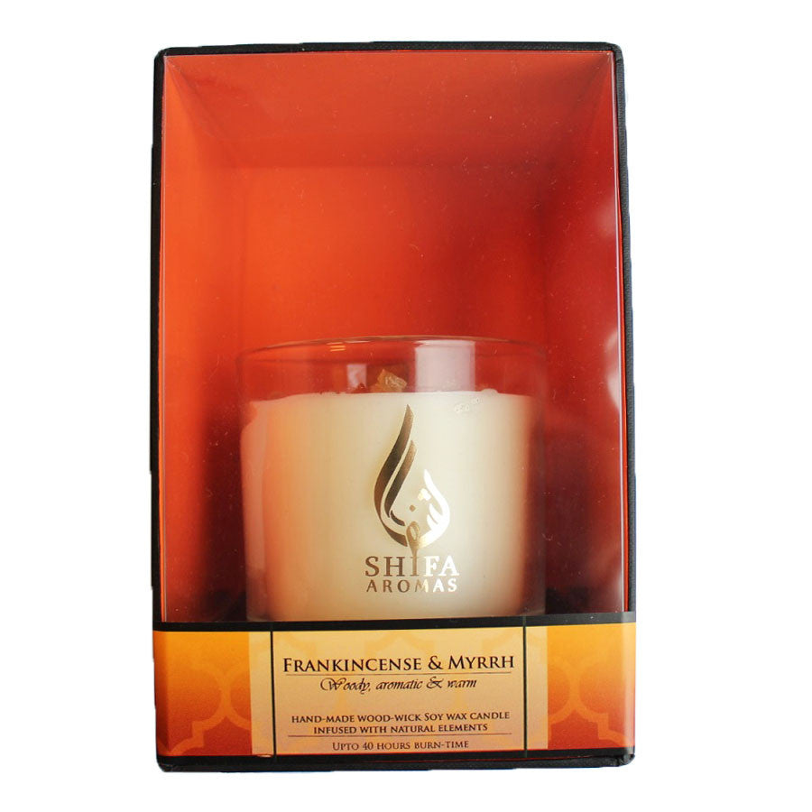 Shifa Aromas - Luxury Glass Jar Candle with Wooden Wick - Frankincense & Myrrh
