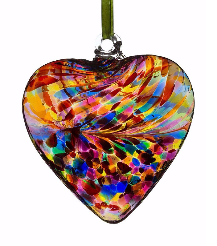 Multicoloured 8cm Glass Friendship Heart