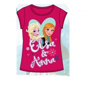Official Disney Frozen Elsa & Anna Short Sleeve T-Shirt