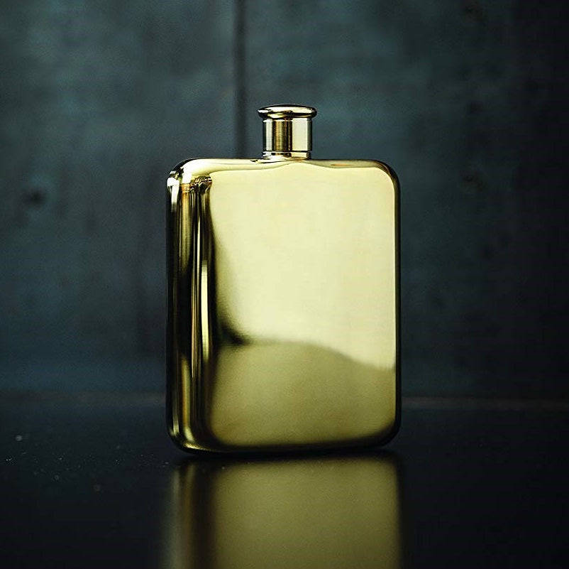 14K Gold Plated Hip Flask by Viski
