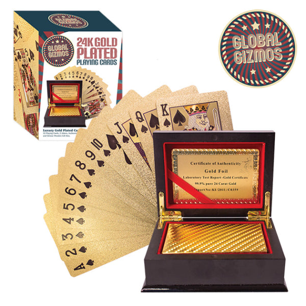 24K Gold Plated Playing Cards Boxed Set