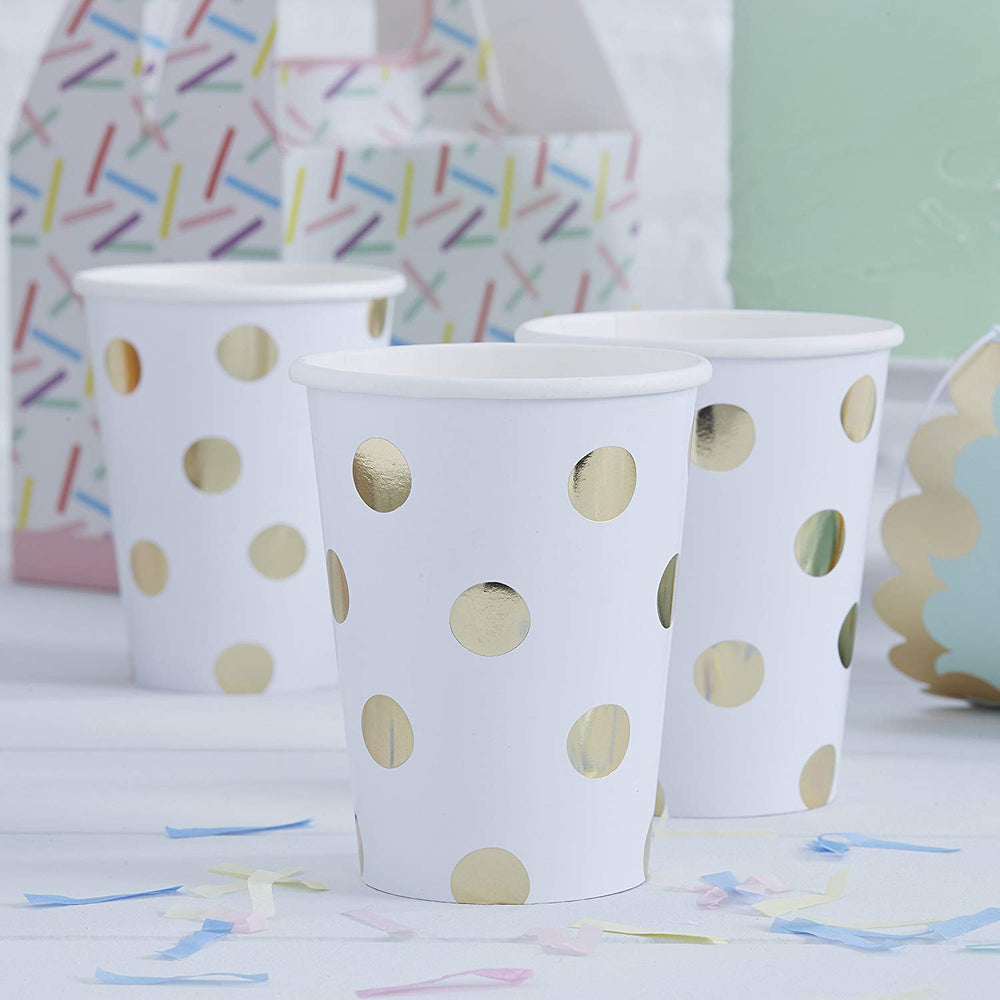 Gold Foil Spotty Paper Cups by Ginger Ray