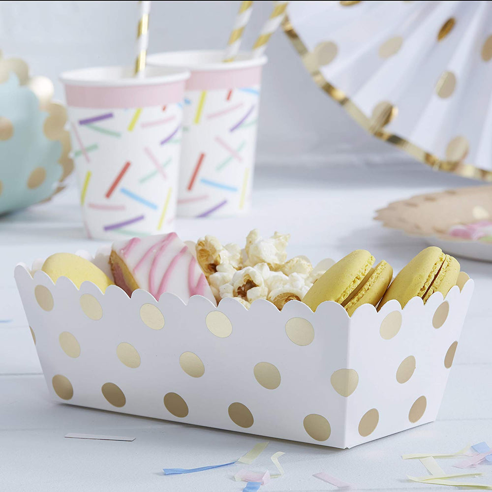 Gold Foil Spotty Paper Snack Trays by Ginger Ray