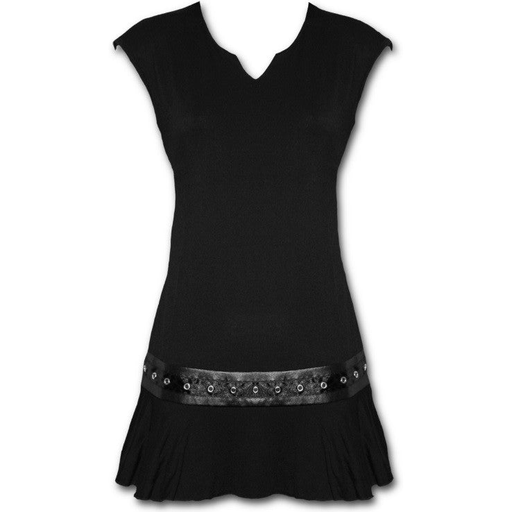 Women's Gothic Rock Stud Waist Black Mini Dress