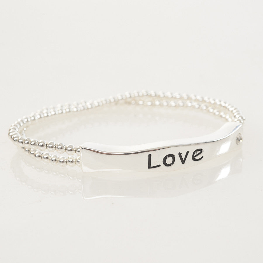 Silver Bead 'Love' Sentiment Stretch Bracelet
