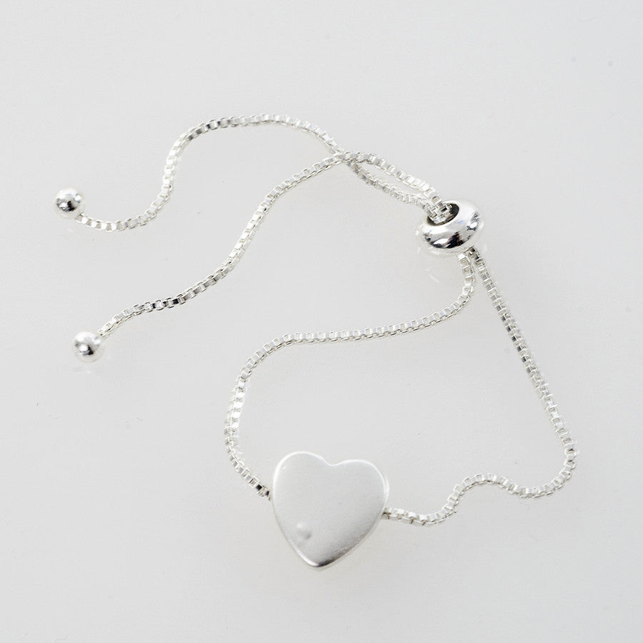 Silver Heart Charm Friendship Bracelet
