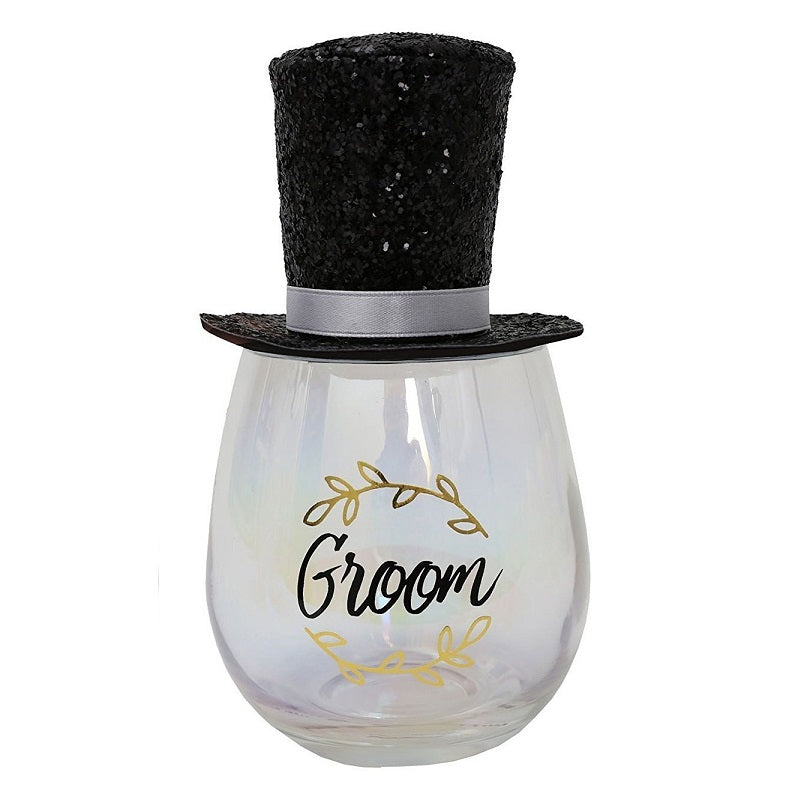 Groom Stemless Wine Glass with Wearable Party Hat by Splosh