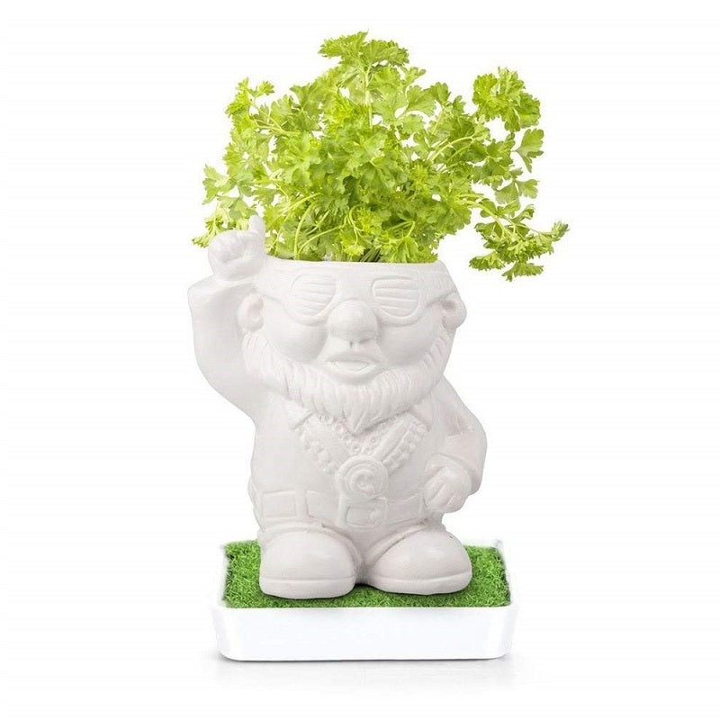 Disco Dave Herb Heads Ceramic Gnome Planter with Parsley Seeds