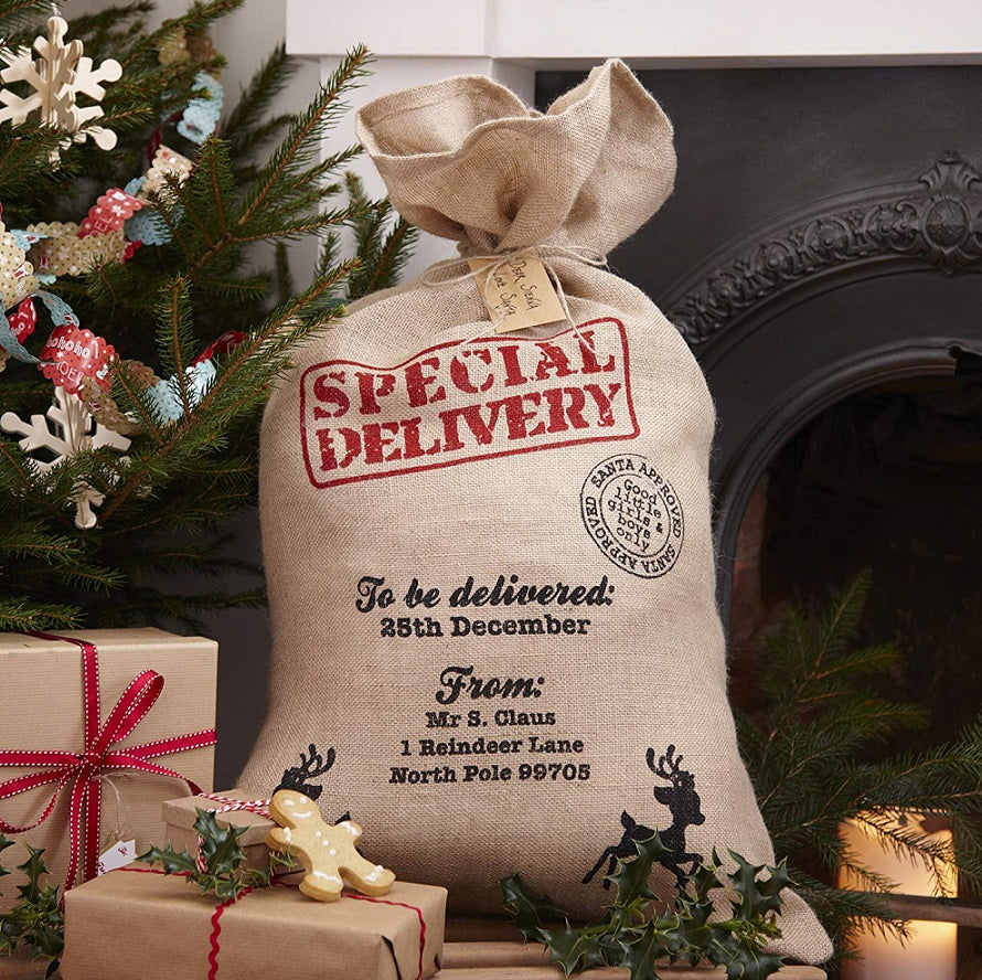 Hessian Burlap Christmas Santa Sack by Ginger Ray