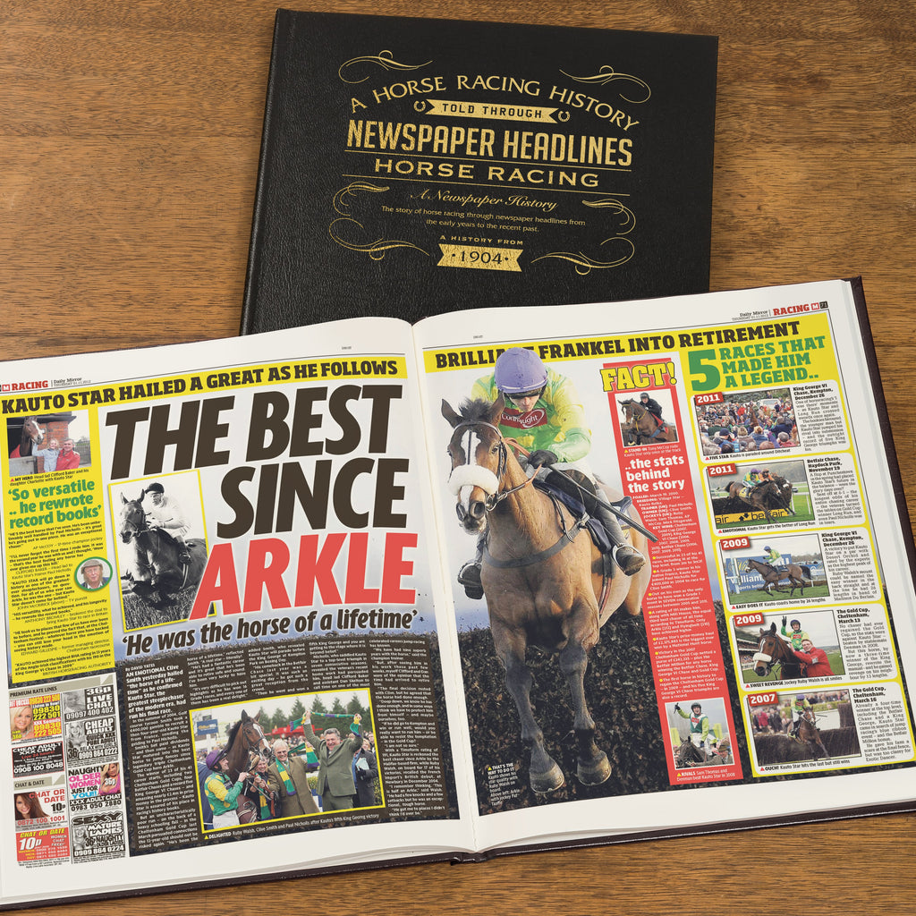 Personalised Horse Racing Newspaper Book - Black Leather Cover