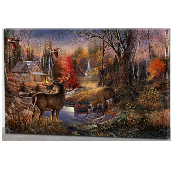 House With Deers LED Canvas Wall Art 60cm x 40cm