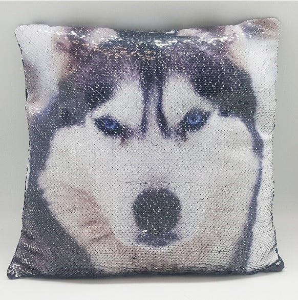 Siberian Husky Magical Sequin Cushion 16""