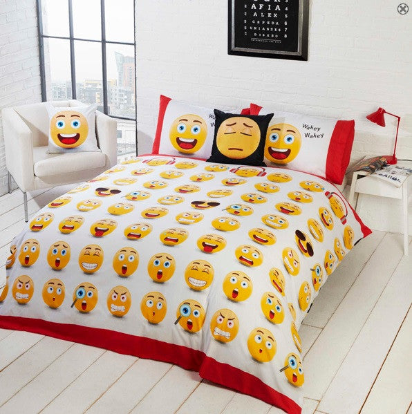 Message Icons Multi Reversible Single Duvet & Pillow Case Bed Set