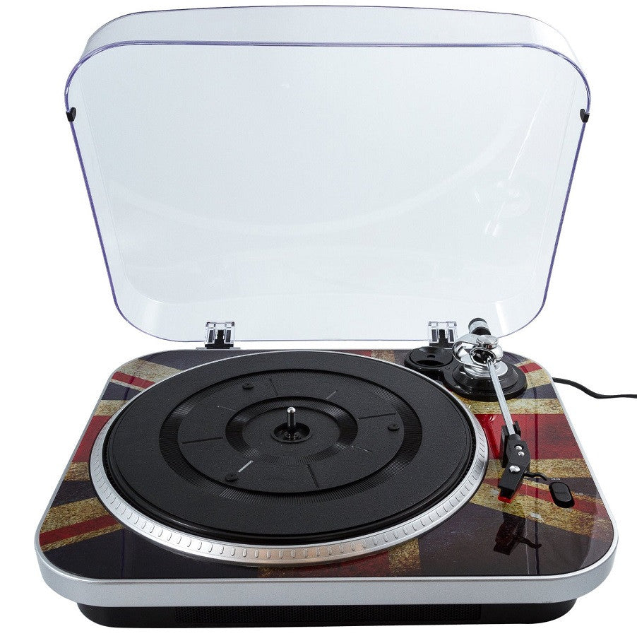 GPO 'Jam' Retro 60's Style Union Jack 3 Speed Vinyl Turntable