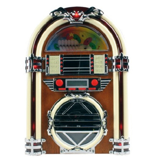 Basic XL Retro Style Table Top Jukebox CD Player AM/FM Radio - Cherry Wood