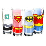 Justice League of America - Set of 4 Glass Tumblers