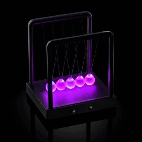 Kinetic Light LED Newton's Cradle Balance Balls - 3 Modes