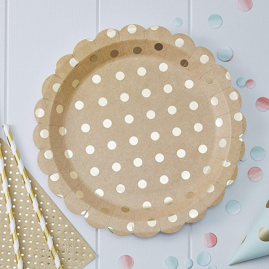 Kraft Gold Spotty Foiled Paper Plates by Ginger Ray