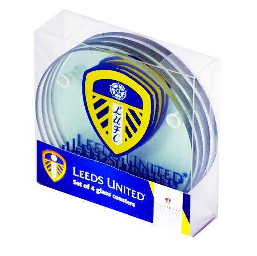 Leeds United Set of 4 Glass Coasters