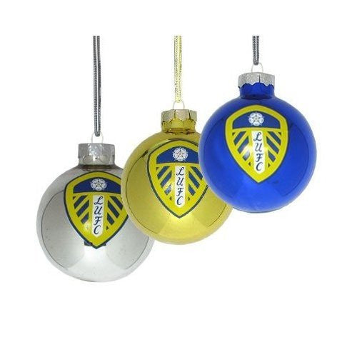 Leeds United Set of 3 Glass Bauble Decorations