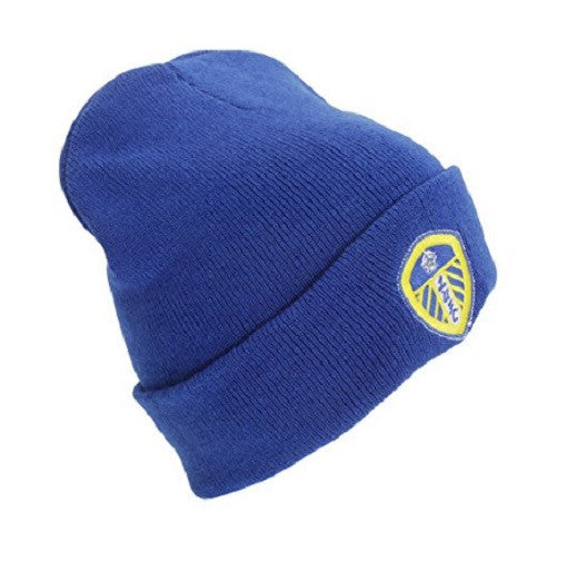 Leeds United Royal Blue Knitted Cuff Beanie Hat