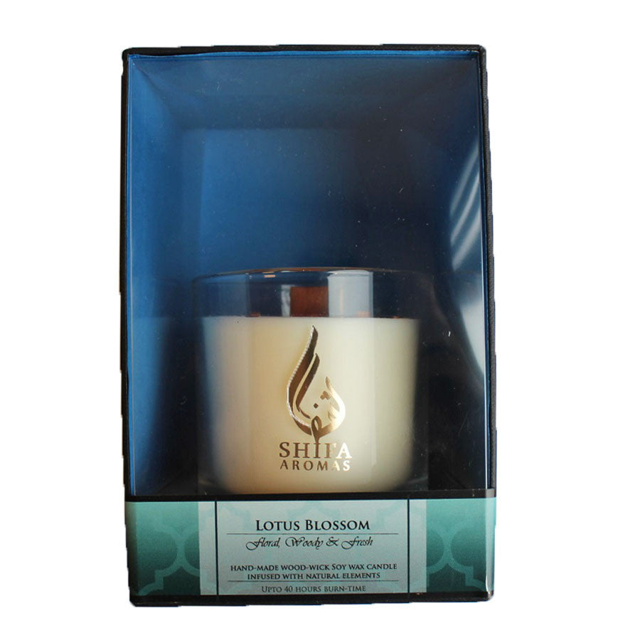 Shifa Aromas - Luxury Glass Jar Candle with Wooden Wick - Lotus Blossom