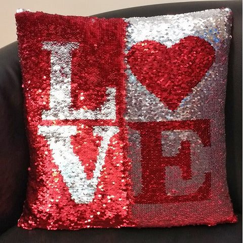 'Love' Red & Silver Magical Sequin Cushion 16""