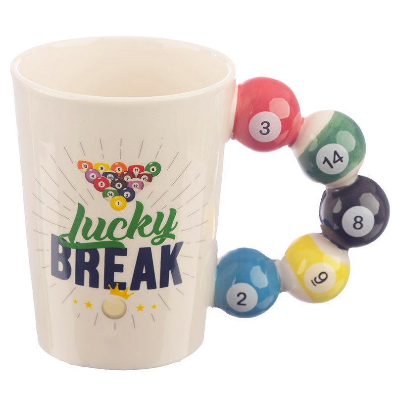 Lucky Break Pool Balls Shaped Handle Ceramic Mug by Puckator