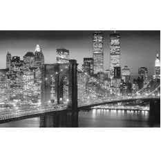 "Steepletone SP40 ~ Manhattan /New York at Night - Monochrome Black & White - LARGE LED Lit Picture ~ 32"" X 24"" (Approx)"