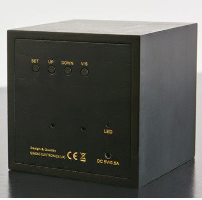 Gingko Maxi Cube Click Clock - Black / Blue LED