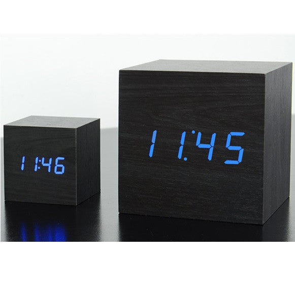 gingko maxi cube click clock black blue led liberty. Black Bedroom Furniture Sets. Home Design Ideas