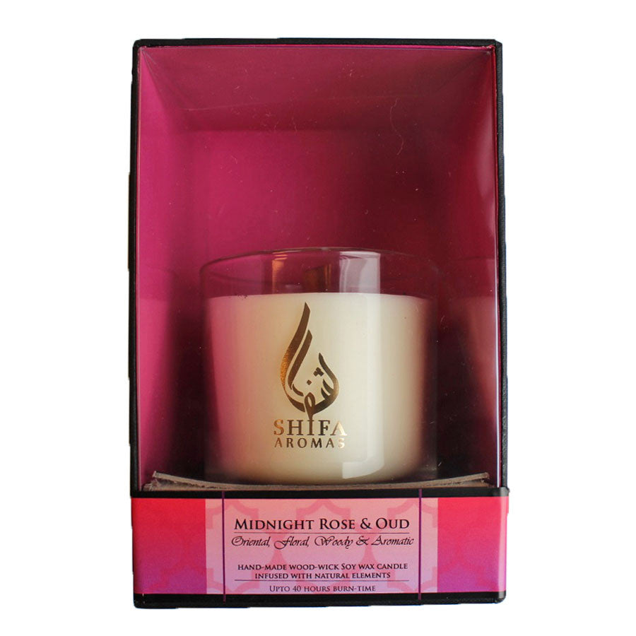 Shifa Aromas - Luxury Glass Jar Candle with Wooden Wick - Midnight Rose & Oud