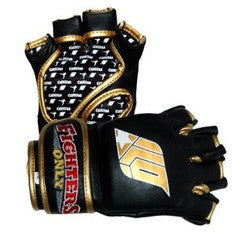 Fighters Only Black Leather MMA Gloves - MMA Grappling Gloves