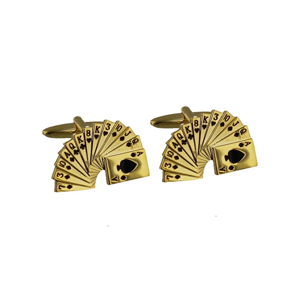 Monte Carlo Gold Tone Cufflinks - Deck of Cards