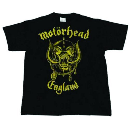 Official ~ Motorhead (England) ~ Classic Gold T-shirt ~ Black Cotton / Gold Lettering