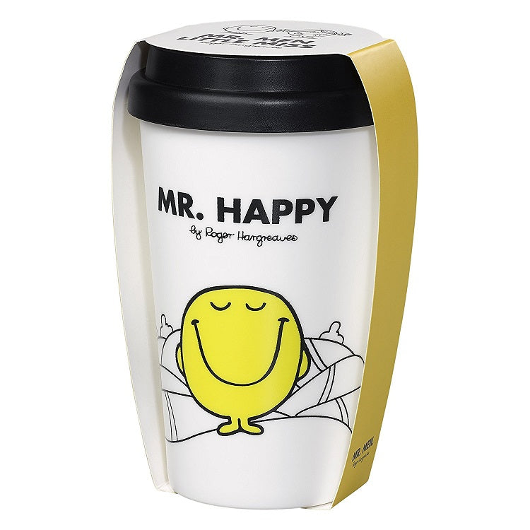 Mr Men Mr Happy Travel Mug with wrapping