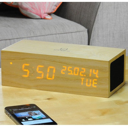 Gingko Music Click Clock Oak / Orange LED