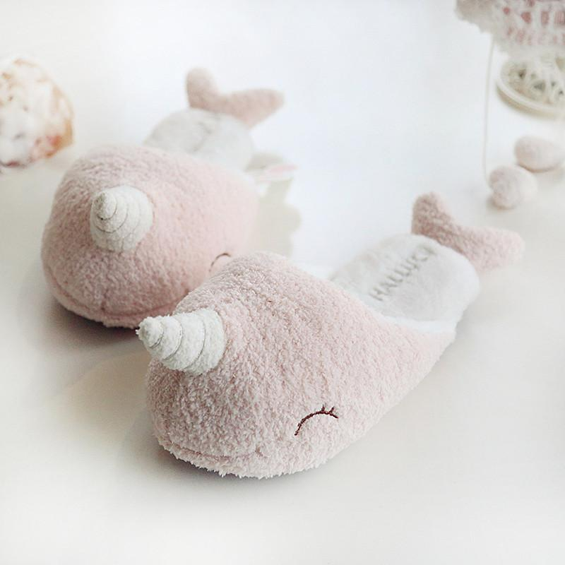 Pastel Pink Narwhal Slippers