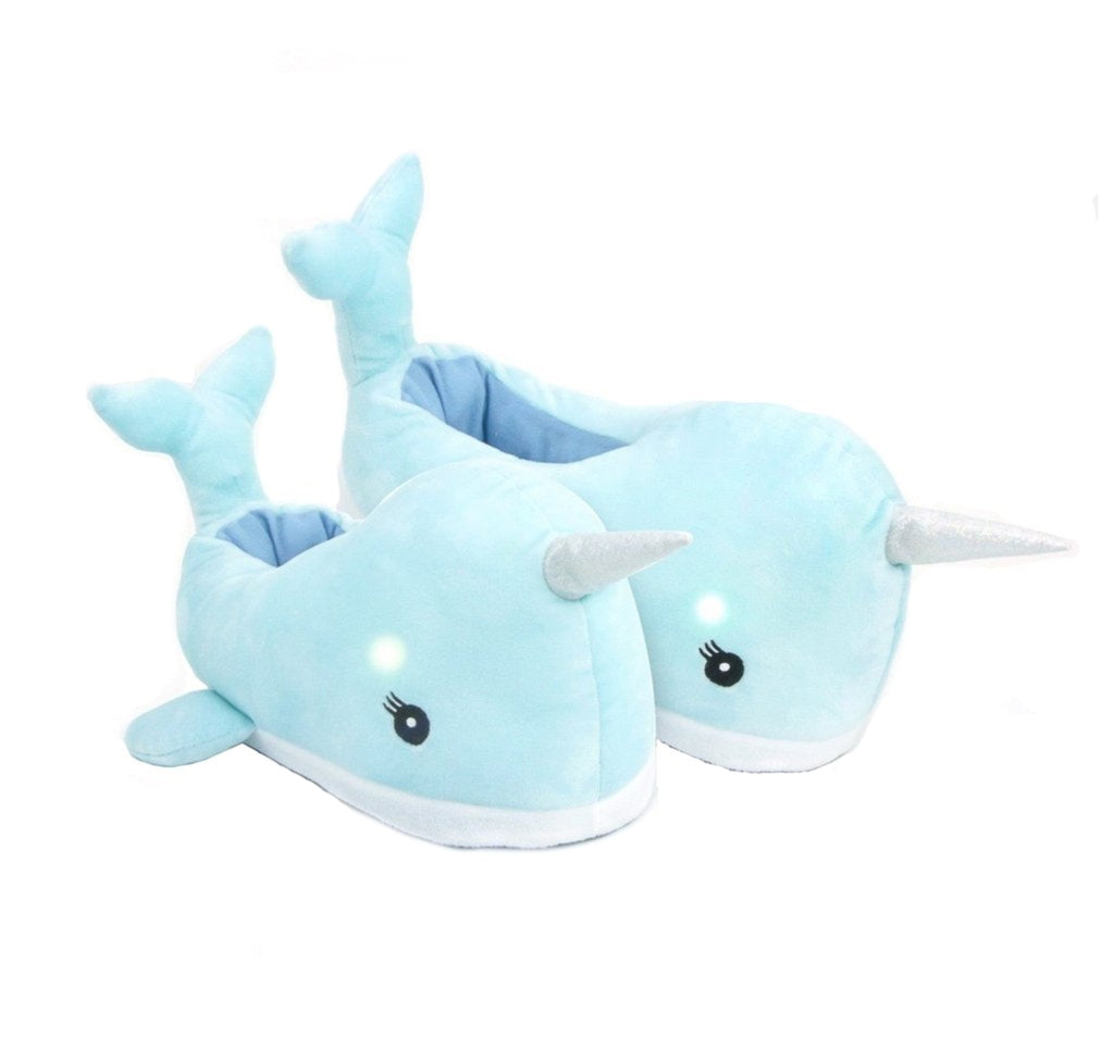 kids or childrens narwhal led slippers