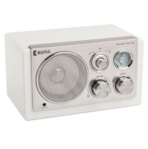 Konig Retro Table Radio AM/FM White