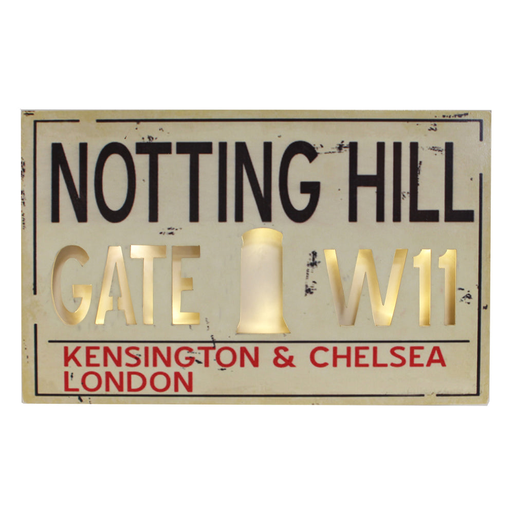 Light Up MDF Street Sign Wall Plaque - Notting Hill