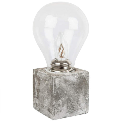 Novelty Light Bulb On A Cement Square Gift - Fun Funky Table Lamps