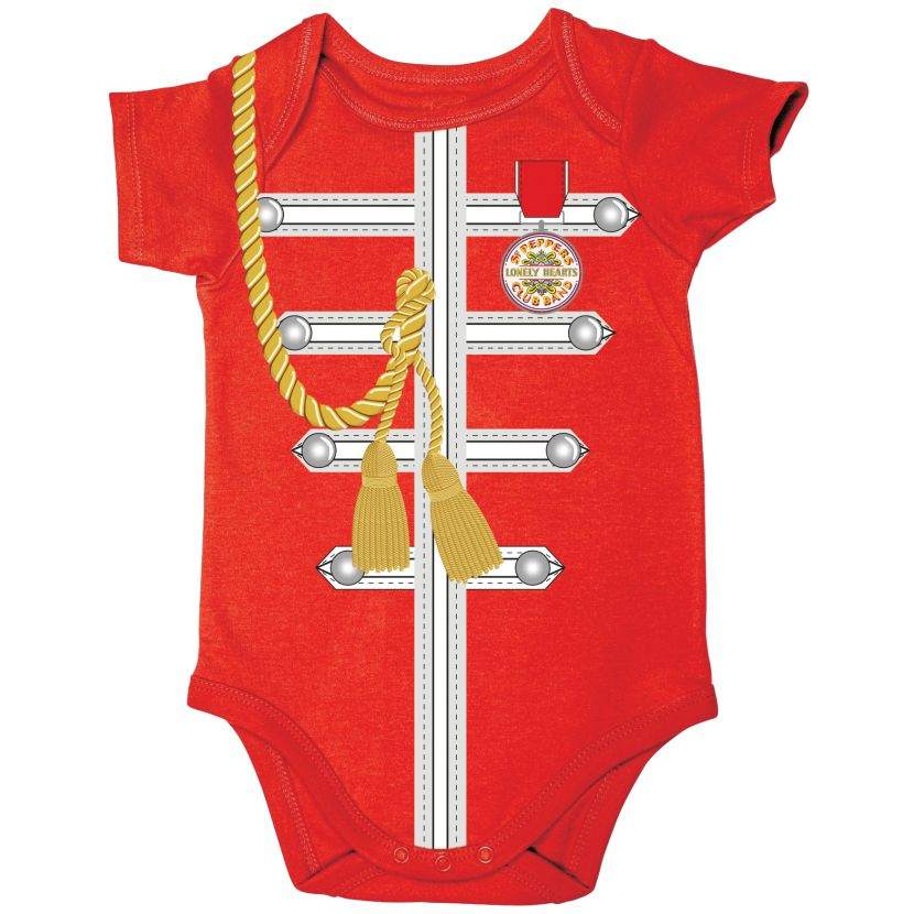 The Beatles Red Sgt Pepper Uniform Short Sleeve Baby Bodysuit