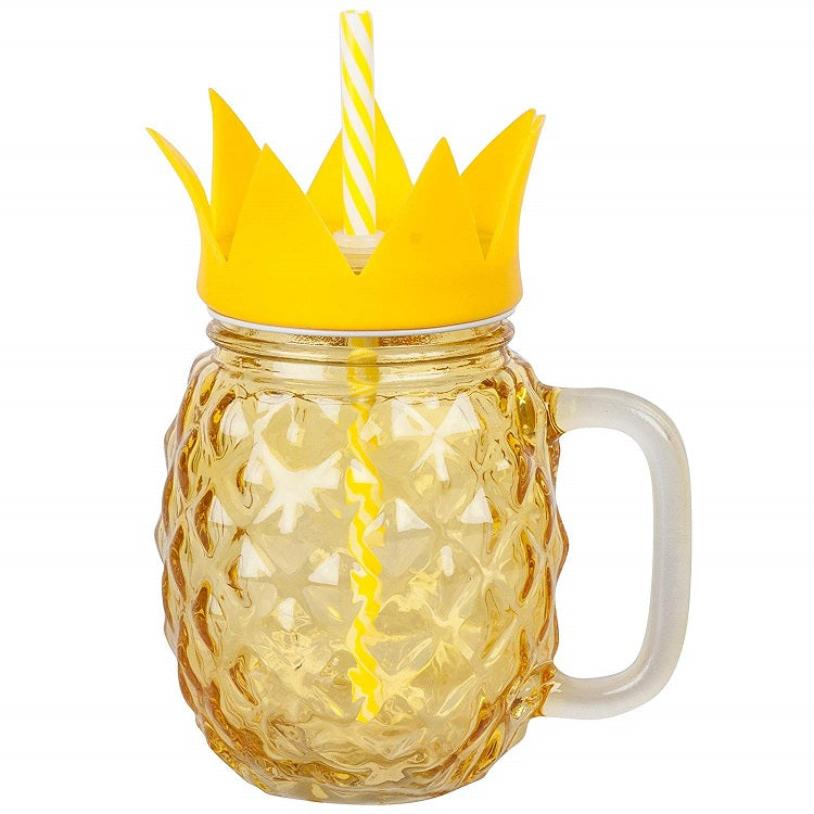 Pineapple Mason Jar Glass with Lid and Straw