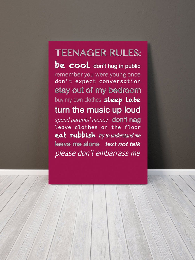 Teenager Rules Pink Red Giclee Typography Canvas Wall Art