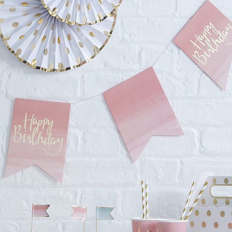 Ombre Pink & Gold Foiled Happy Birthday Party Bunting