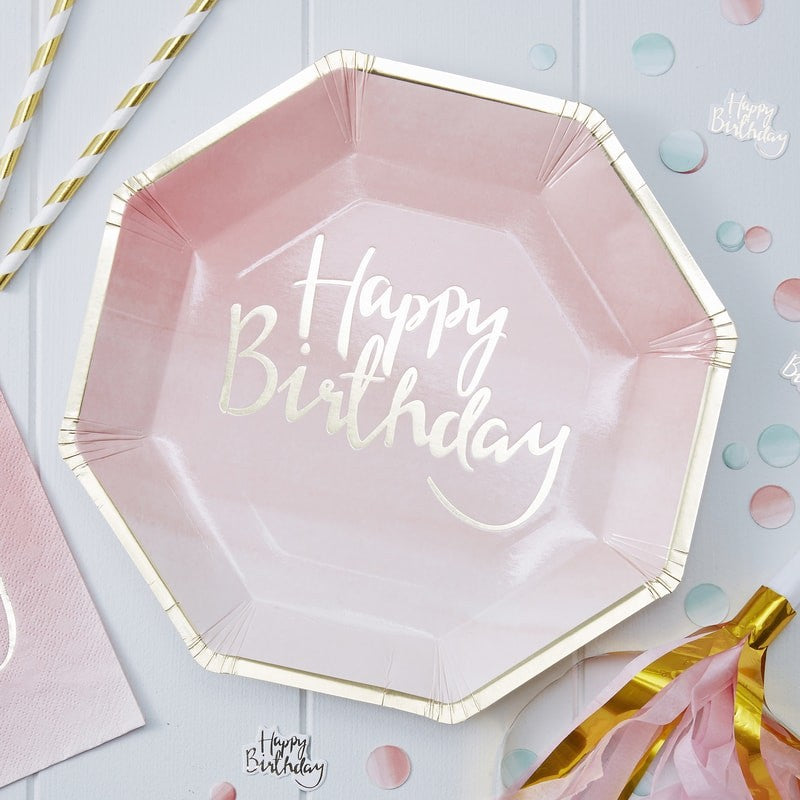 Gold Foiled Pink Ombre Happy Birthday Paper Plates by Ginger Snap
